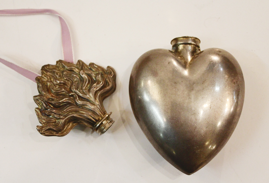 Rare Antique Holy Water Flask Flaming Heart Sterling Silver
