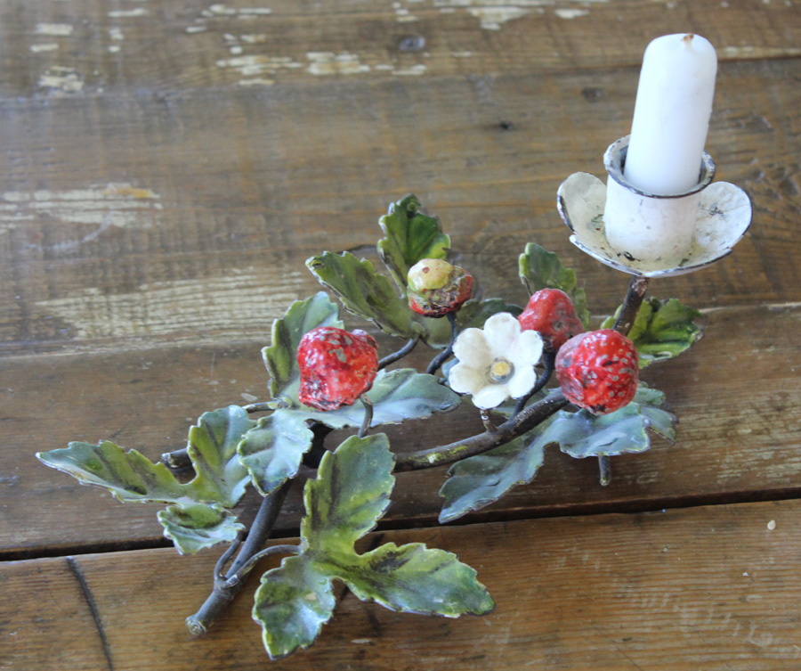 Italian Tole Strawberry Candlestick