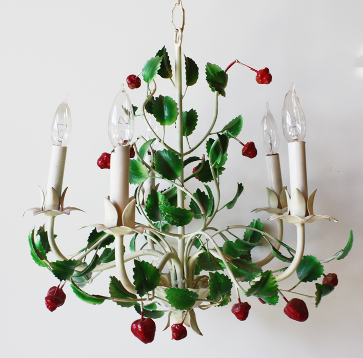 Rare Vintage Italian Tole Strawberry Chandelier-
