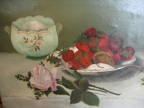 Antique Roses & Berries Oil Paintings on Canvas-