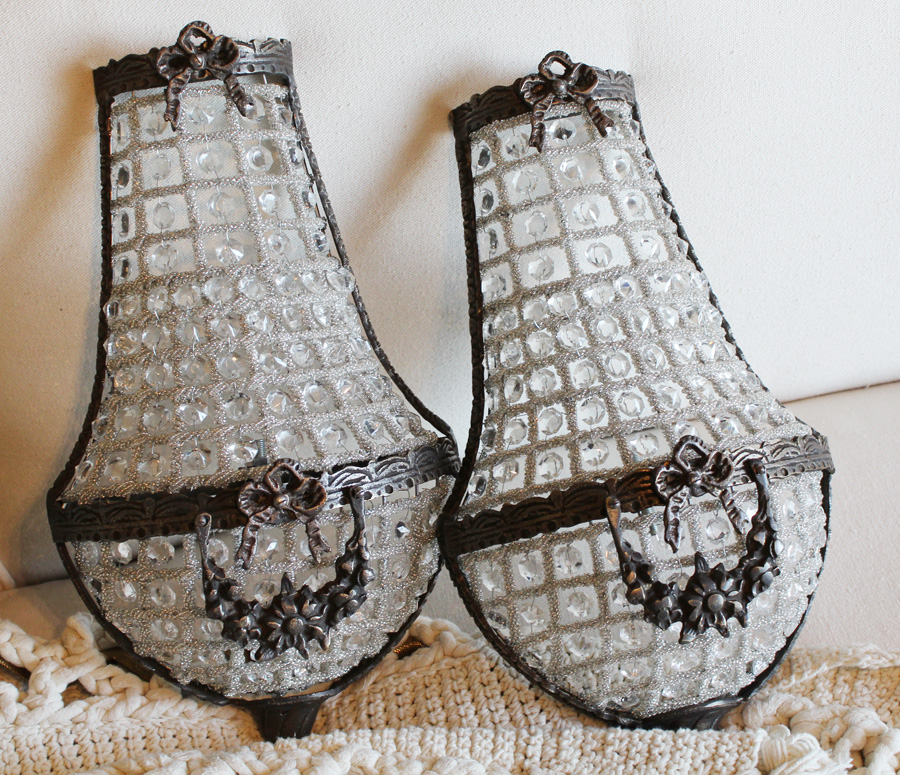 Pair BEADED CAGE WALL SCONCES Rose Swags GORGEOUS-