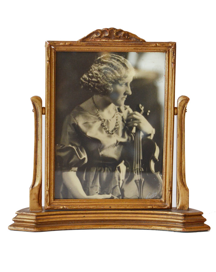 Antique Carved Wood Swivel Photo Frame-