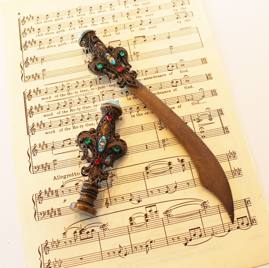 Victorian Antique Rare Jeweled Letter Opener & Crown Seal