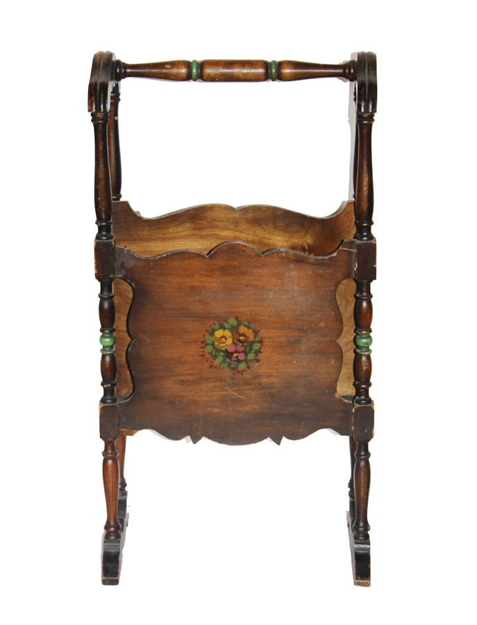 Antique French HandPainted Footed Magazine Rack-