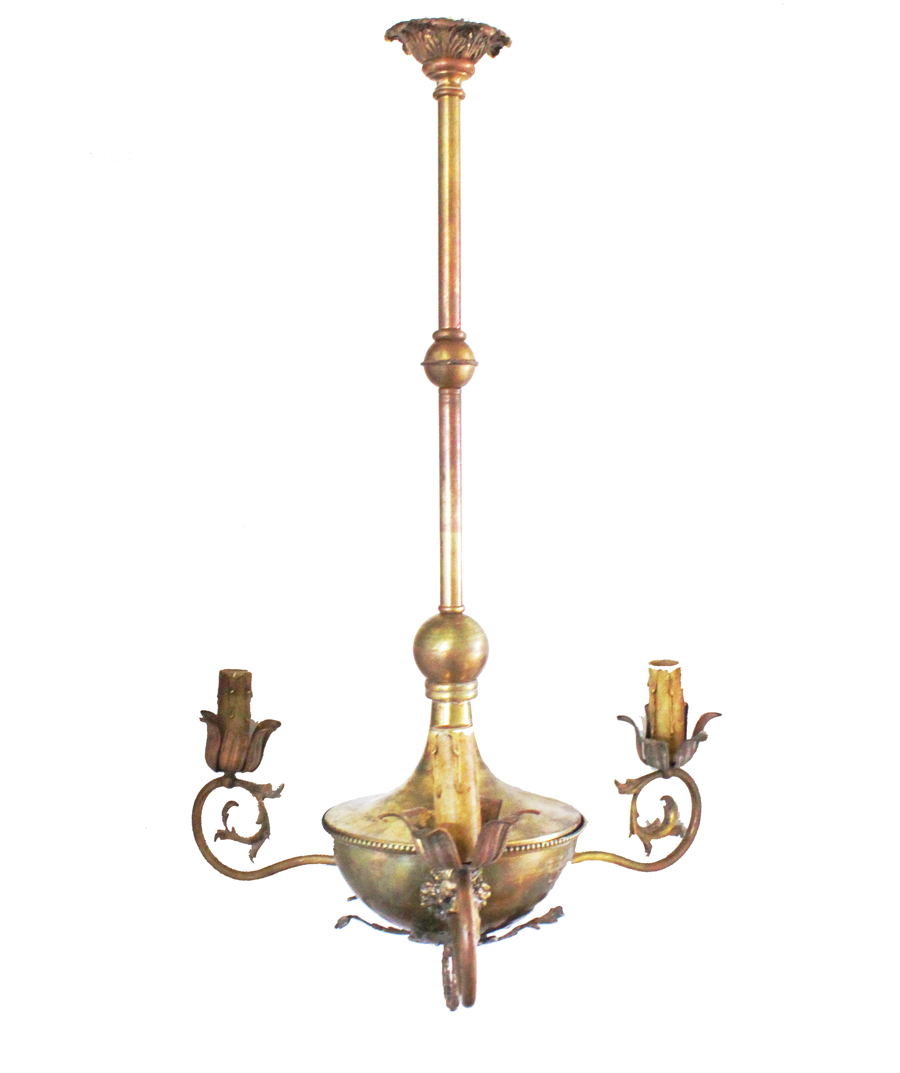 Antique Incredible Tole 3-Arm Figural Chandelier
