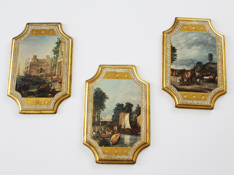 Set of Three Antique Italian Florentine Wall Hangings