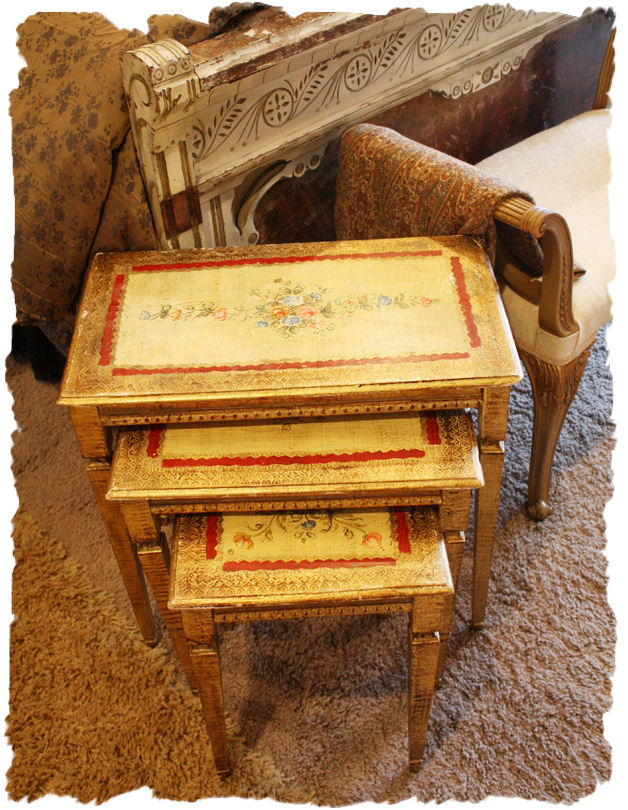 Antique Italian Tole Florentine Set of 3 Nesting Tables-