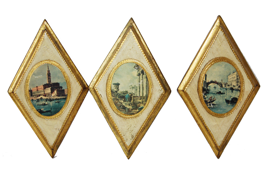 Set of Three Italian Florentine Wall Hangings-