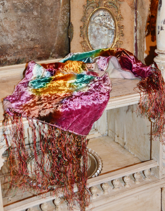 French Victorian Antique Tie Dye Piano Scarf Runner-