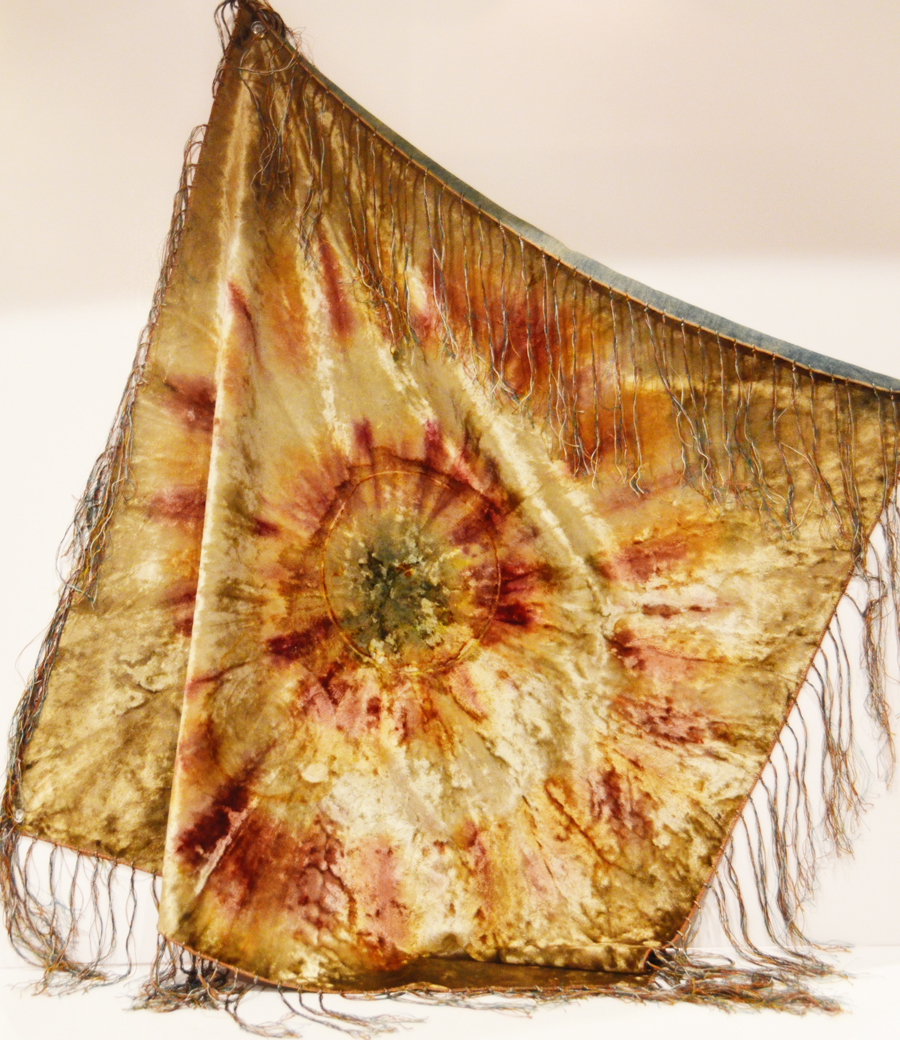 Rare Victorian Velvet Tie Dye Piano Scarf/Throw