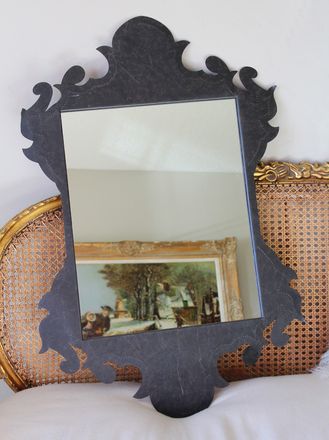 Antique French Metal Punched Mirror Gorgeous