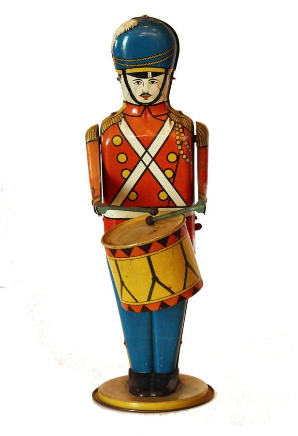 1930s Vintage Windup Tin Toy Soldier Drum Major