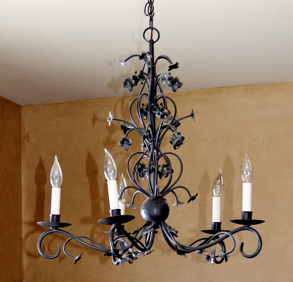Wrought Iron Italian Tole Black Flowers Chandelier-