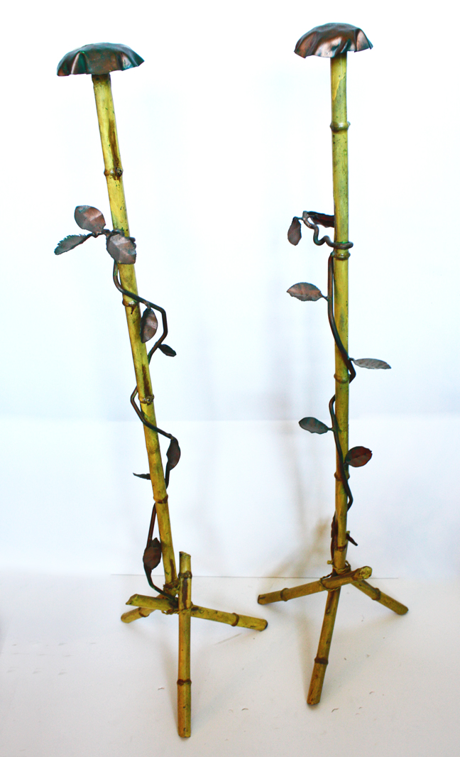 Rare Pair Antique Italian Tole Hat Stands-