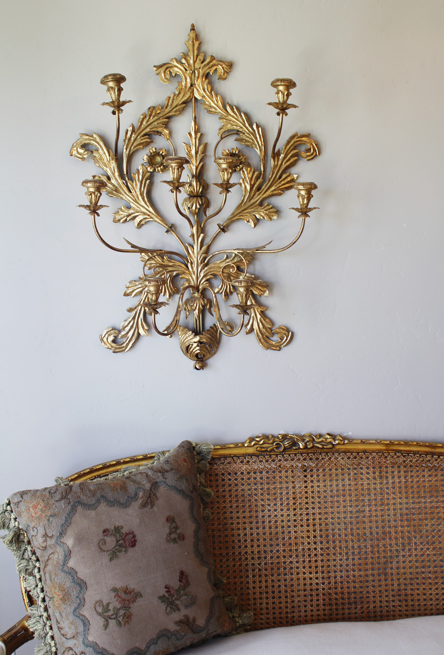 Antique Italian Tole Gilt Wall Sconce Candelabra-