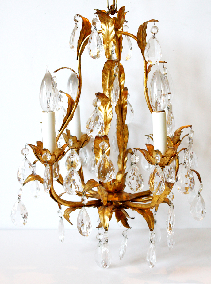 Antique Italian Tole Leaves Gilt Crystal Prisms Chandelier-
