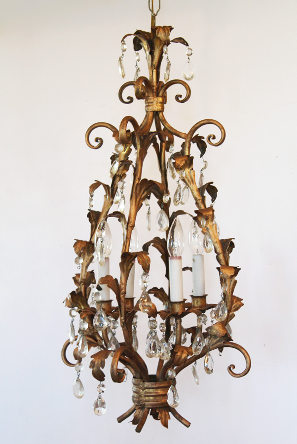 Antique Italian Tole Crystal Prisms Chandelier Rare Shape Gorgeous