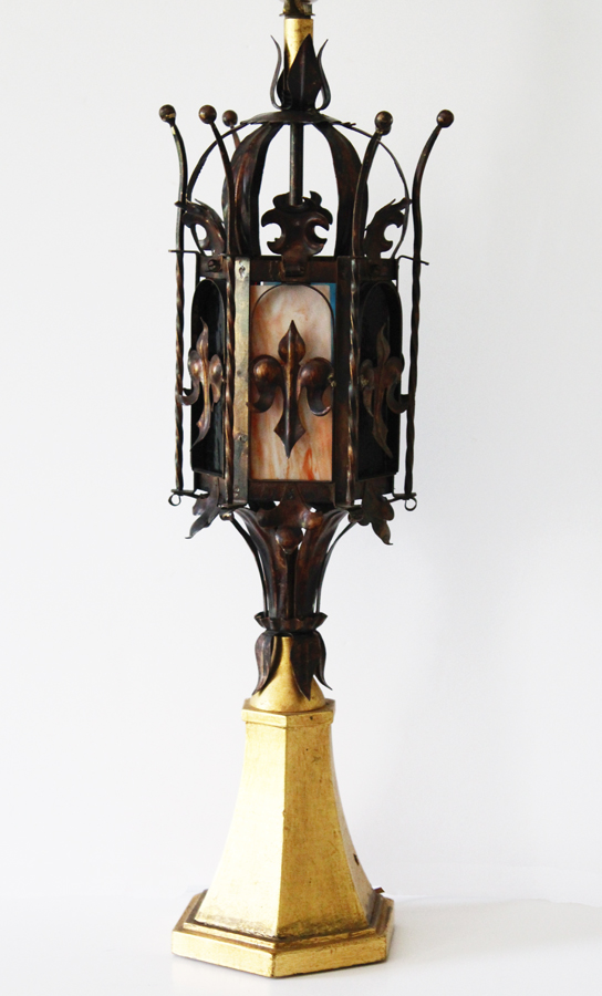Antique Italian Tole Crown Table Lamp w/Stained Glass