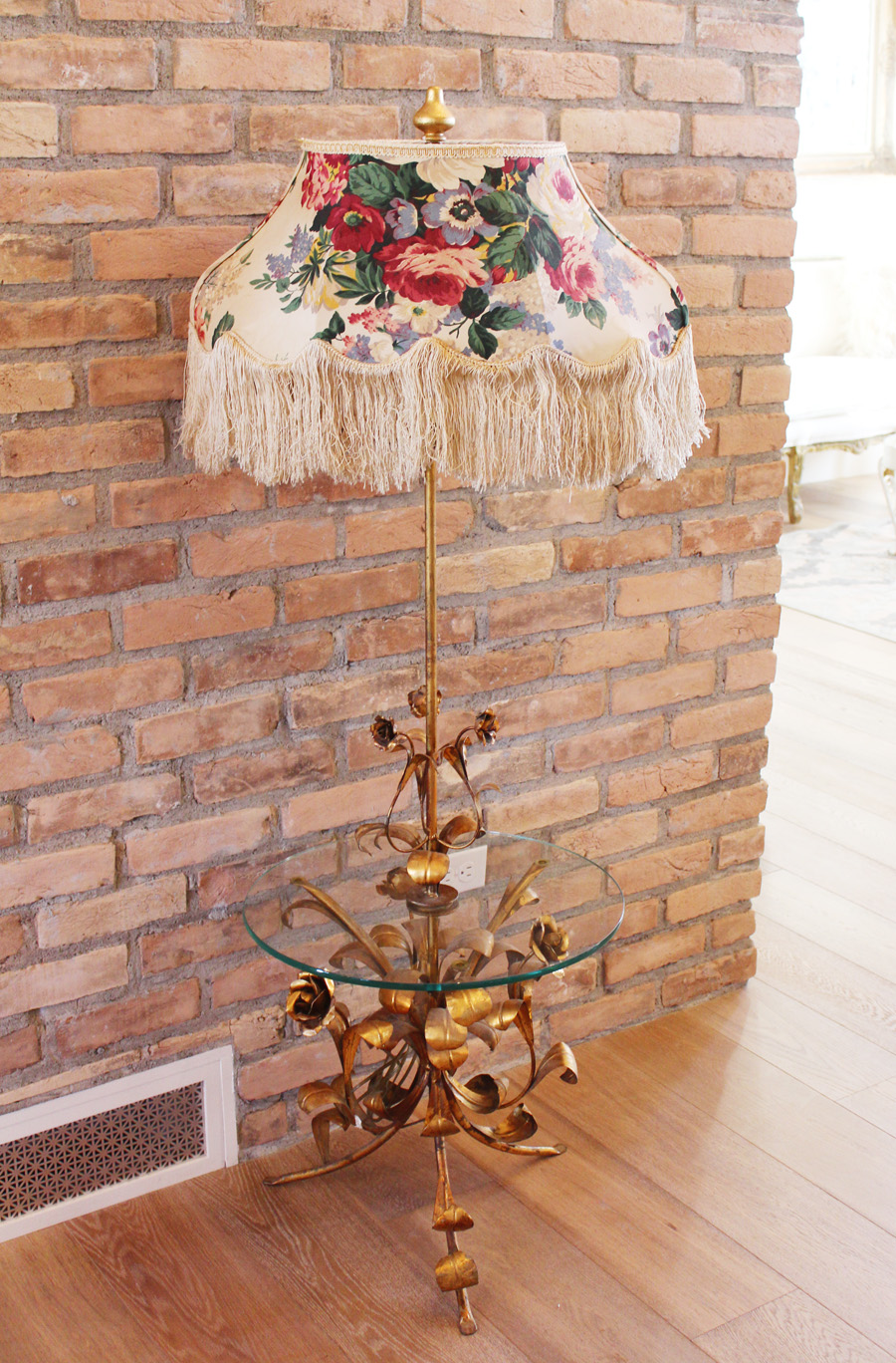 Antique Italian Tole Gilt Roses Floor Table Lamp