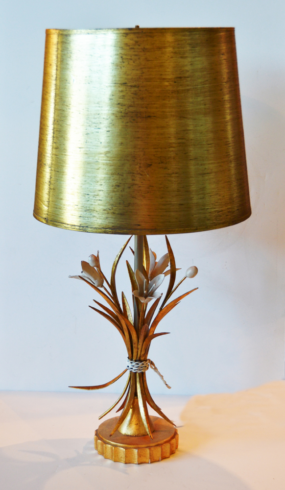 Antique Italian Tole Gilt w/Tulips Lamp & Shade-