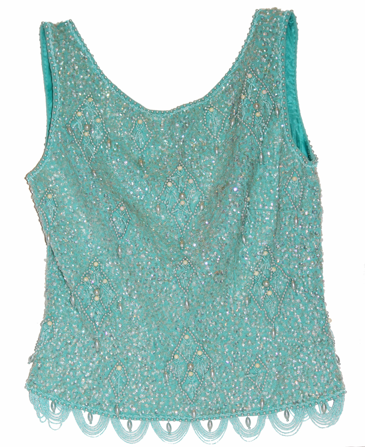 Vintage Aqua Beaded Fashion Tank Top Mint Condition