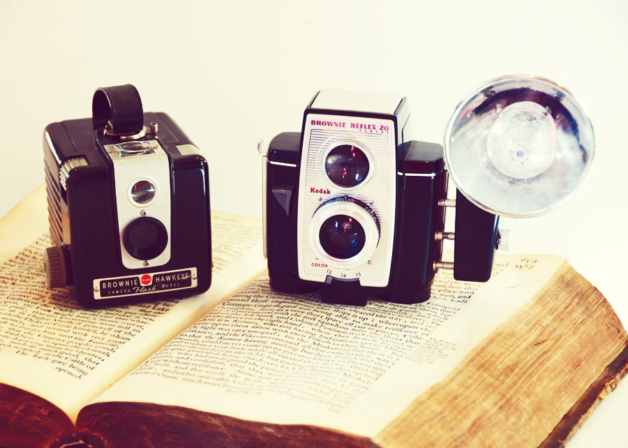 Pair Antique Vintage Kodak Cameras