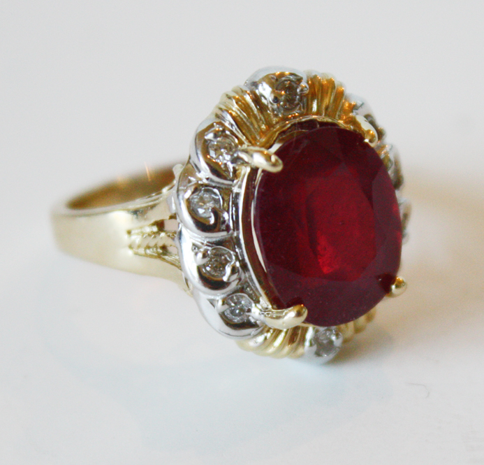 Large Oval Ruby & Diamonds Ladies Ring 1950s Showstopper-