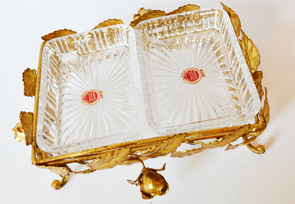Antique Italian Tole Gilt Rose & Crystal Serving