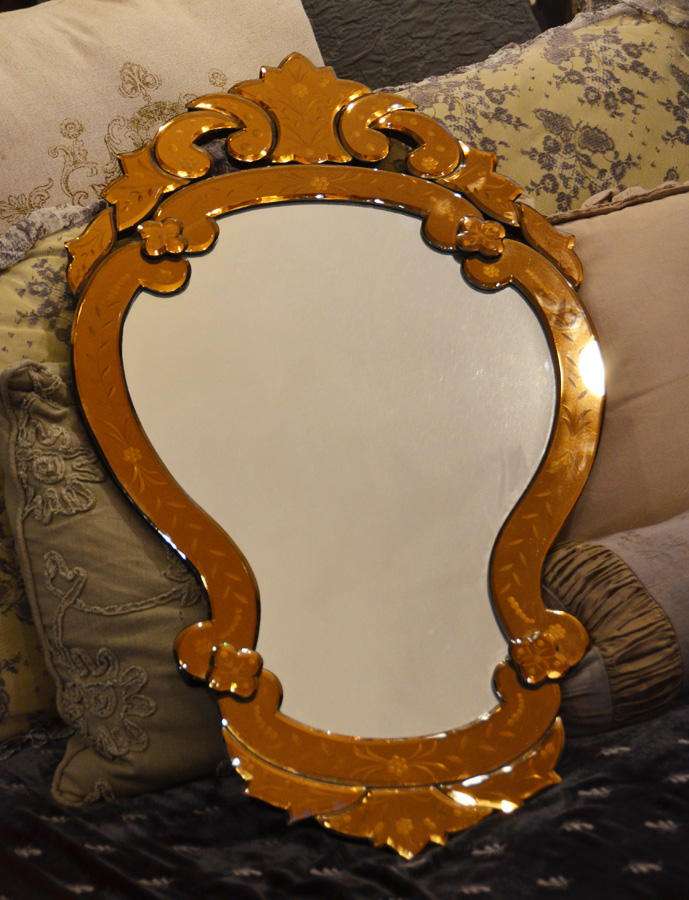 Gorgeous Venetian Italian Etched Colored Glass Wall Mirror-