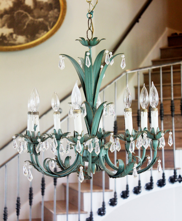 Antique Italian Tole Crystal VerdiGreen Crystal Chandelier