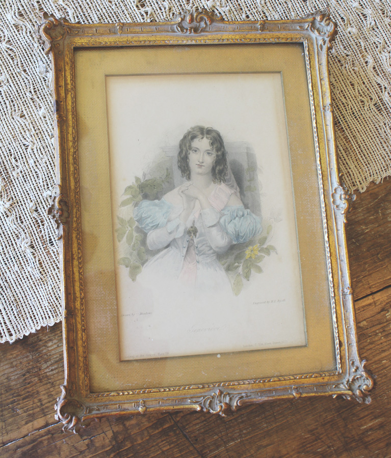 Gorgeous Antique 1800s Framed Original Art Plate Woman
