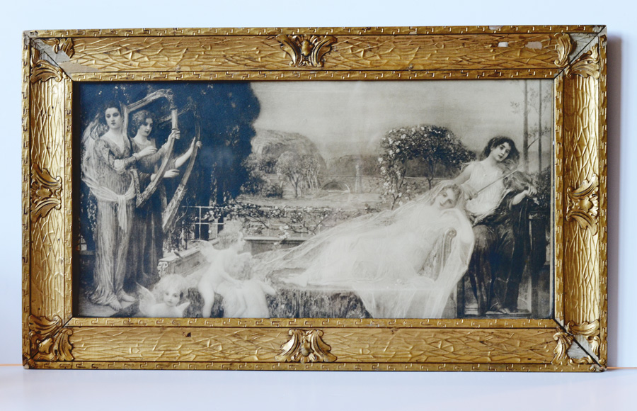 Breathtaking Victorian Yard Long Litho Goddess Maiden Original Frame-