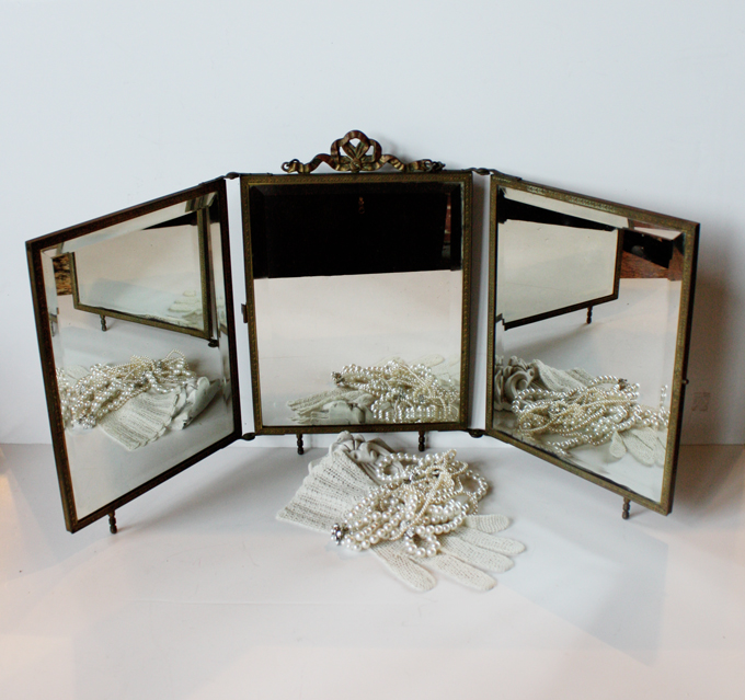 French Antique Salon Tri-Mirror Incredible-