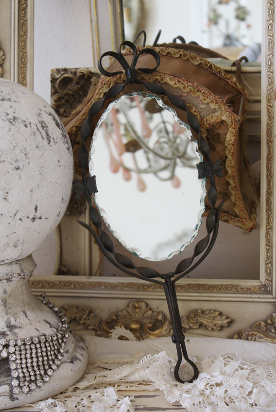 Victorian Antiques 1900s Cast Iron Shaving Mirror-