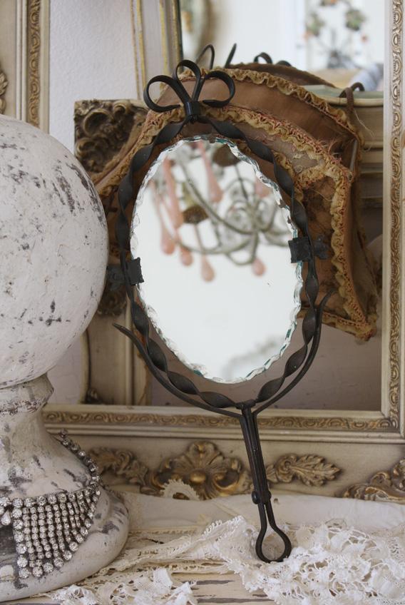 Victorian Antiques 1900s Cast Iron Shaving Mirror-