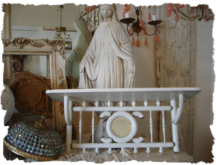 French Victorian Stick & Balls Beveled Wall Shelf