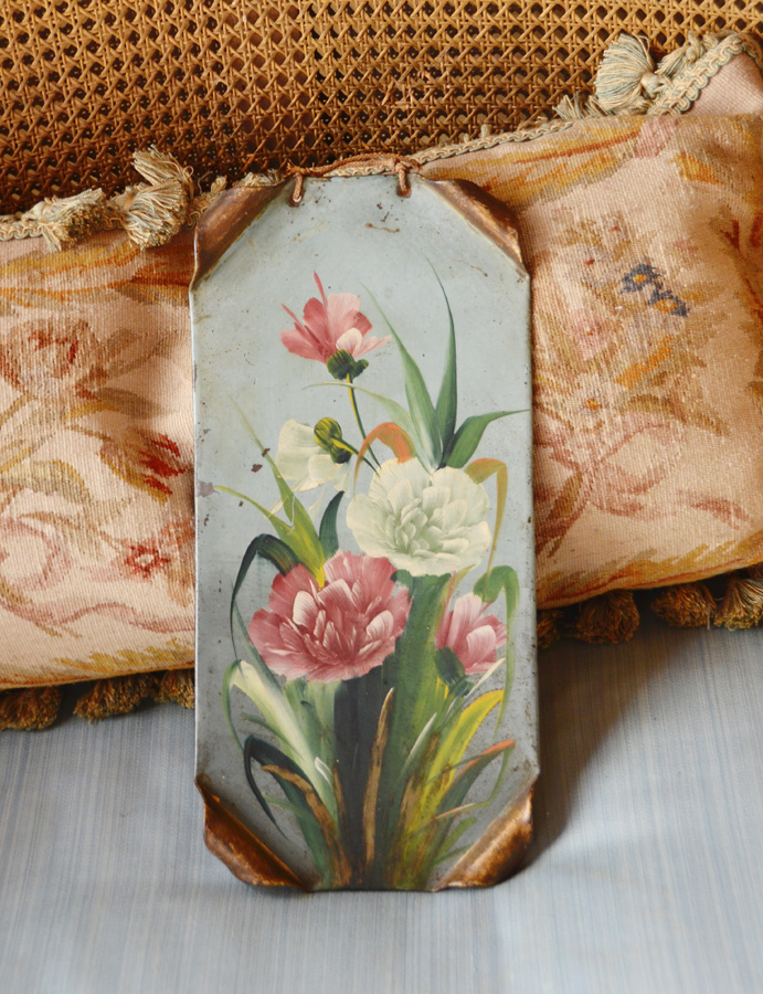 Antique Victorian Oil Painting Flowers on Tin-