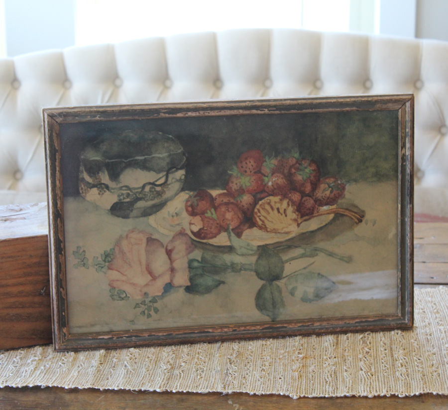 Antique Original Frame Victorian Watercolor Rose Painting