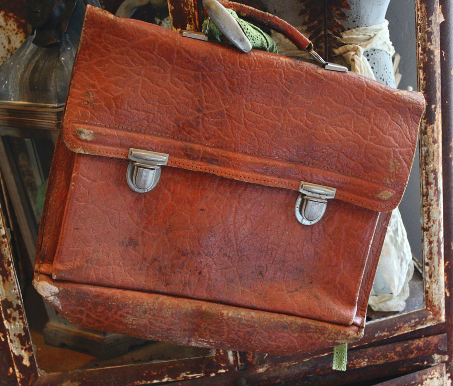 Vintage Worn Leather Satchel Bag