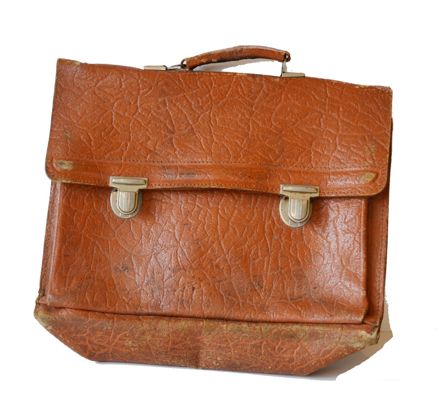 Vintage Boho Leather Bag w/Handle-