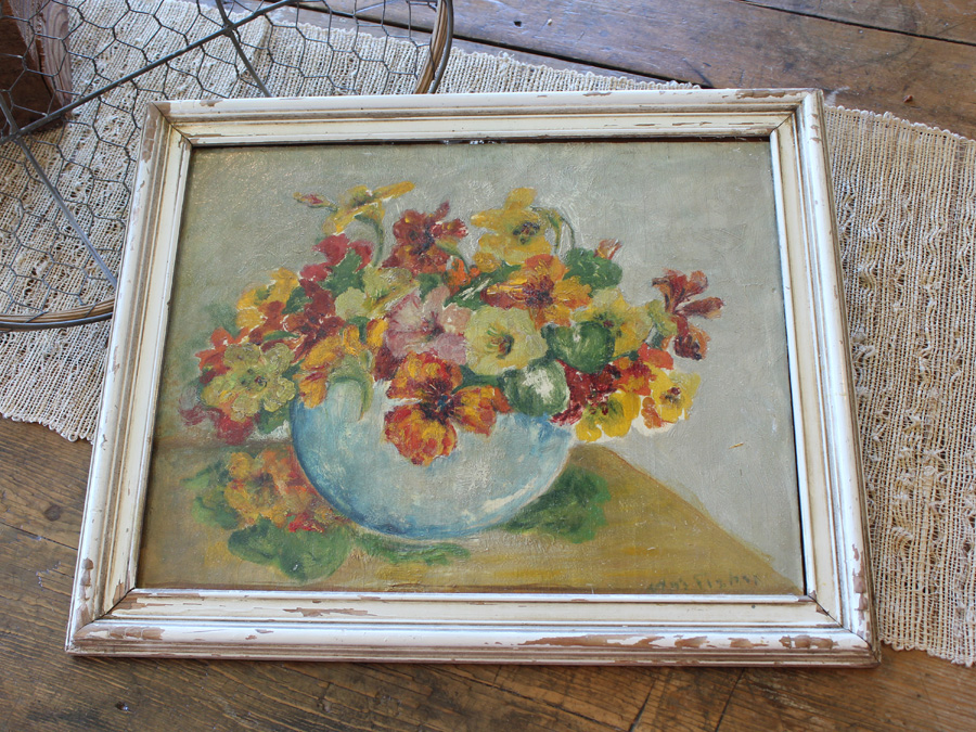 Vintage Beautiful Floral in Bowl Oil Painting Original Chippy Frame