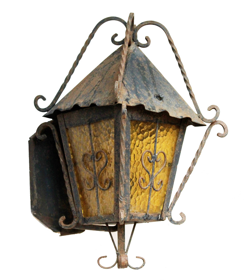 Antique French Iron Wall Lantern Sconce