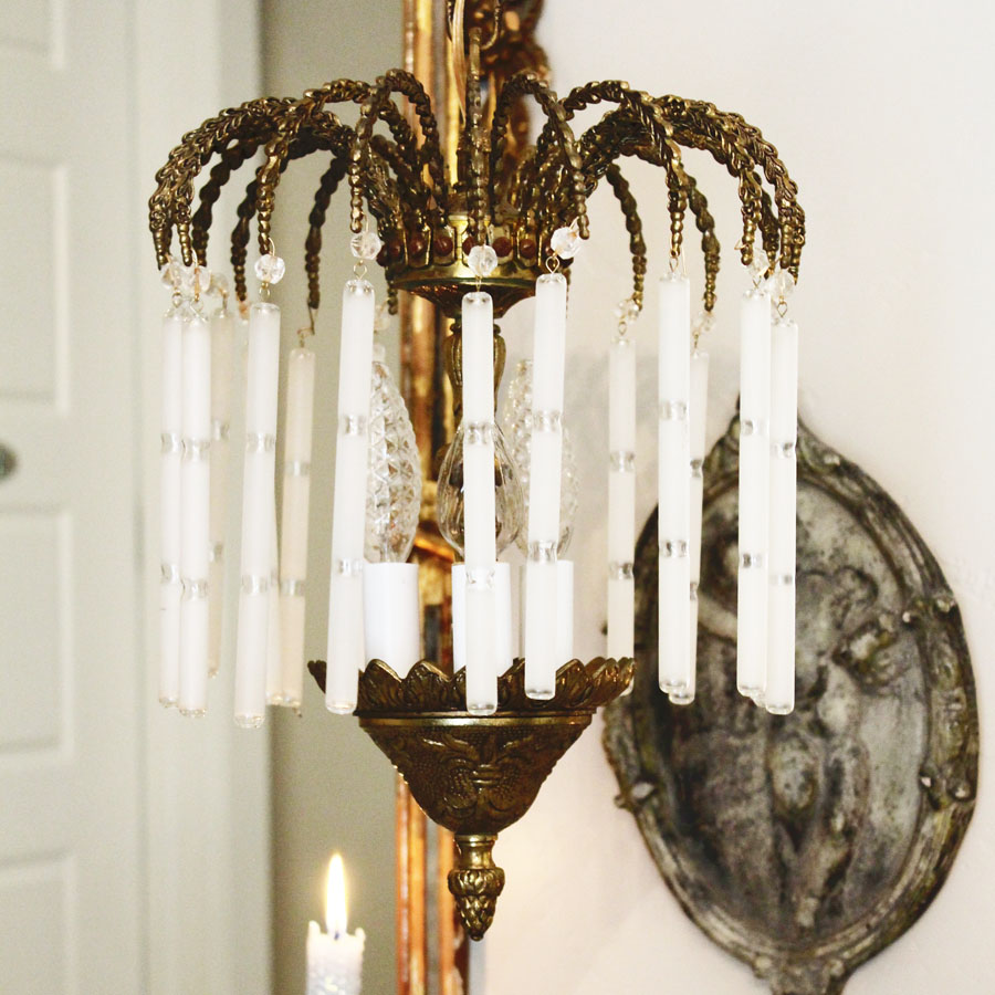 Antique Petite Brass Waterfall Crystal Chandelier