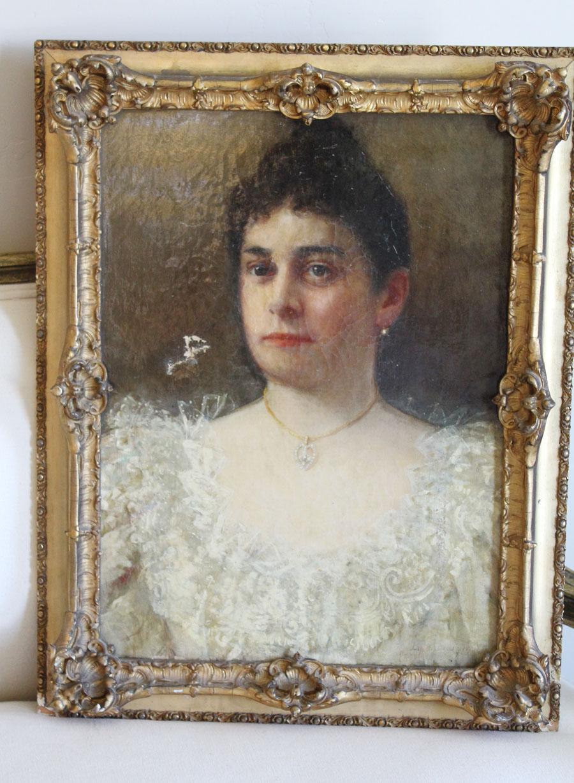 18th C. Portrait Woman Oil Painting w/Necklace