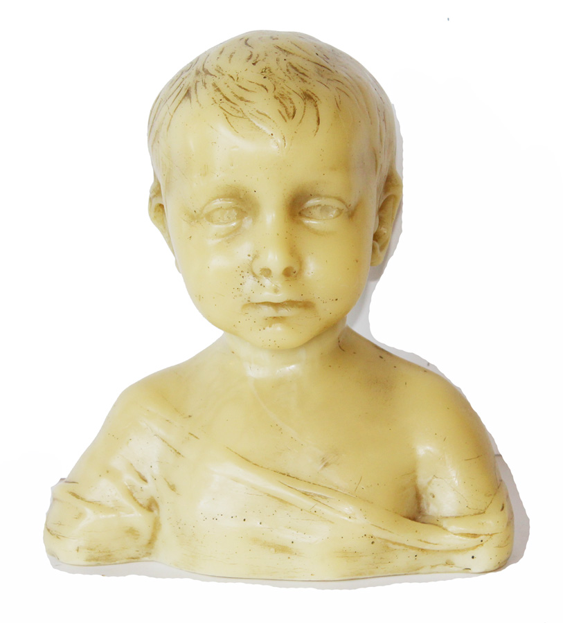 1900s Paris Wax Artist Bust Sculpture