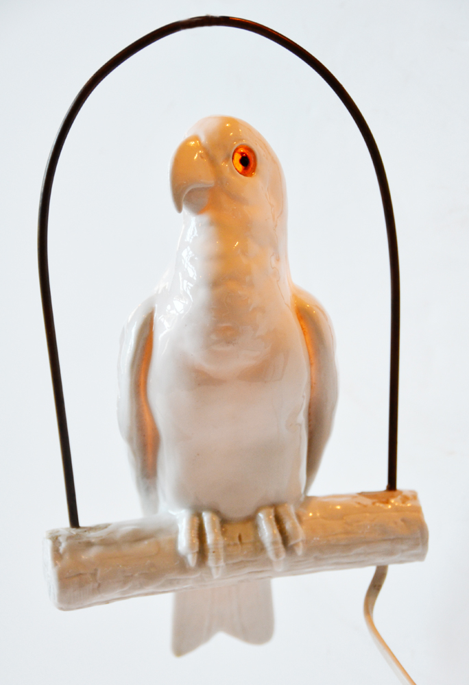 Antique German White Porcelain Parrot Hanging Lamp Rare-