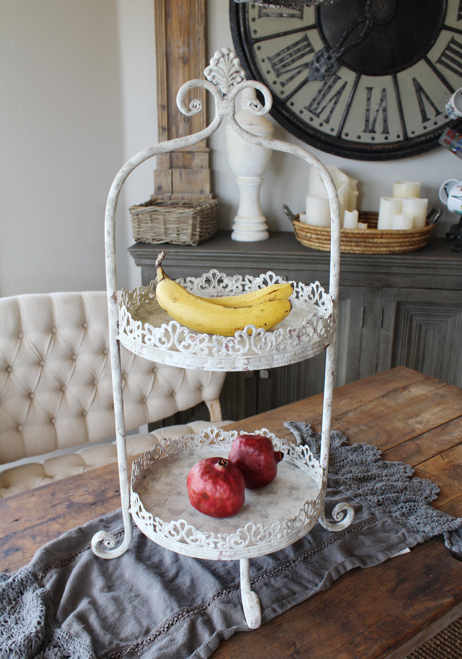 Vintage Style 2 Tier White Ornate Footed Stand