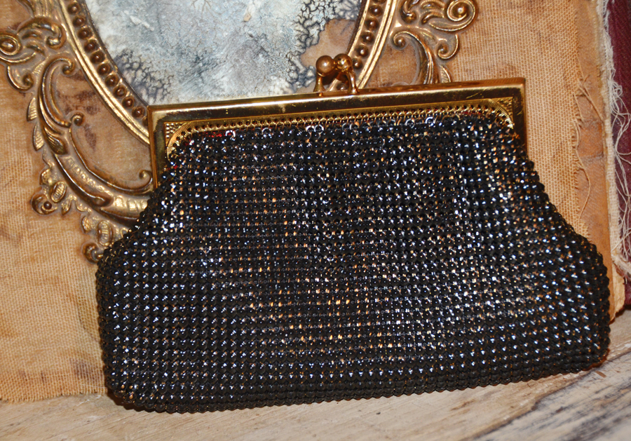 Wonderful Antique Steel Beads Whiting & Davis Clutch Purse-