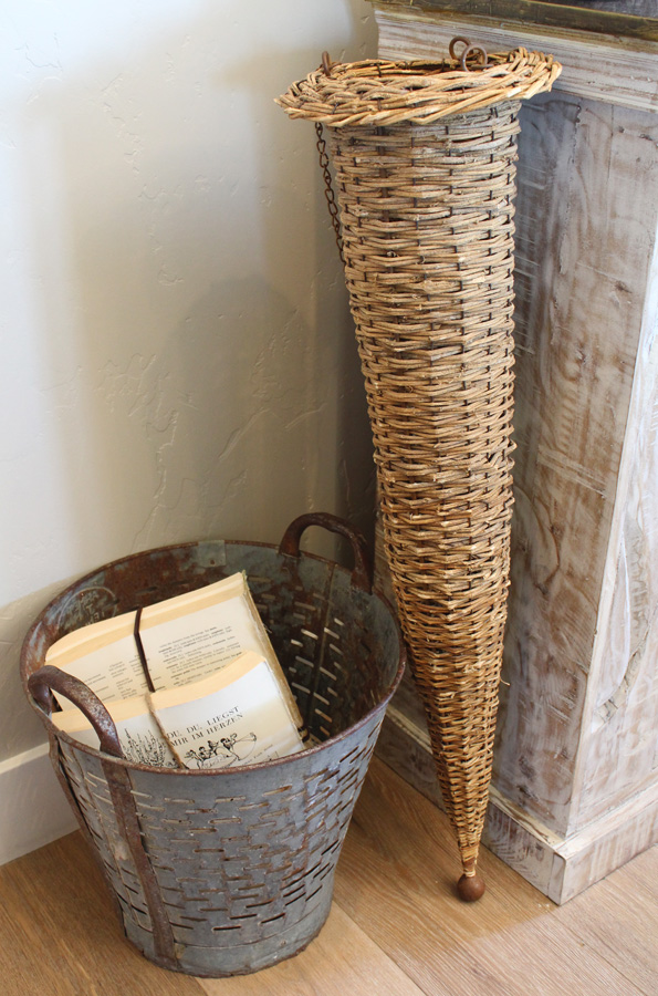 VIntage Wicker & Wood Hanging Farmhouse Basket