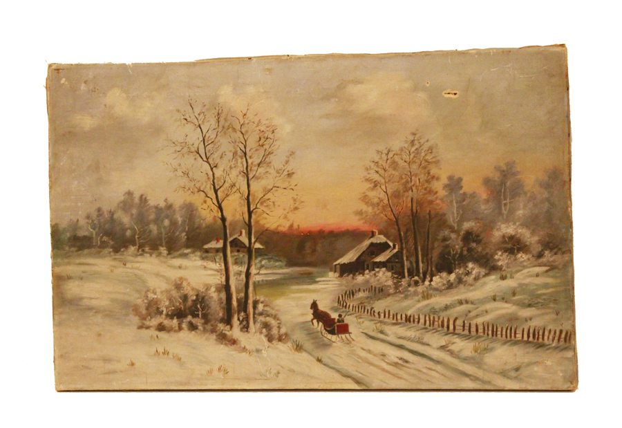 Early 1900s Victorian Winter Wonderland Painting